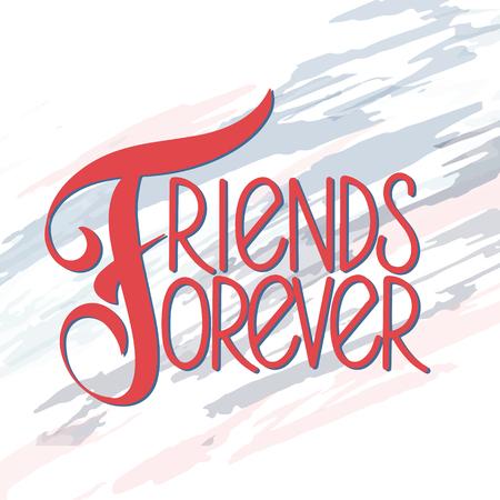 Dzień przyjaźni ręcznie rysowane napis. Przyjaciele na zawsze. Elementy wektorowe na zaproszenia, plakaty, kartki z życzeniami. Projekt koszulki. Cytaty o przyjaźni.