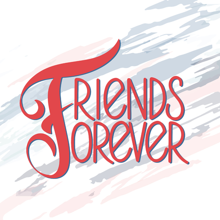 Friendship day hand drawn lettering. Friends forever. Vector elements for invitations, posters, greeting cards. T-shirt design. Friendship quotes. Archivio Fotografico - 114960535