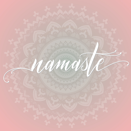 Namaste quote with mandala on background. Elements for greeting card, poster, banners. T-shirt, notebook and sticker design Standard-Bild - 104974421