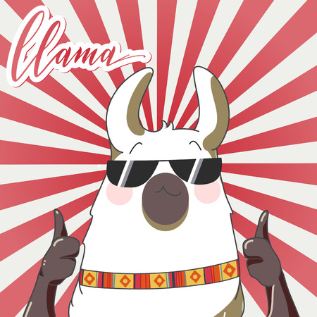 Lama with sun glasses in retro cartoon style. Hand drawn vector illustration. Elements for greeting card, poster, banners. T-shirt, notebook and sticker design Standard-Bild - 104974422