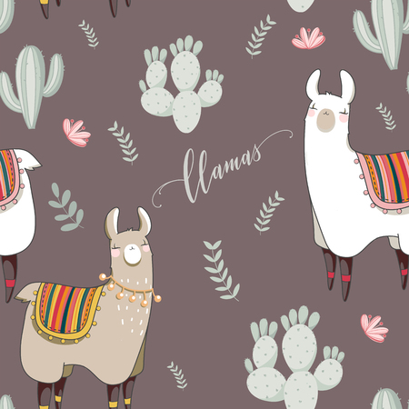 Seamless pattern with Lama in cartoon style. Hand drawn vector illustration. Elements for greeting card, poster, banners. T-shirt, notebook and sticker design.