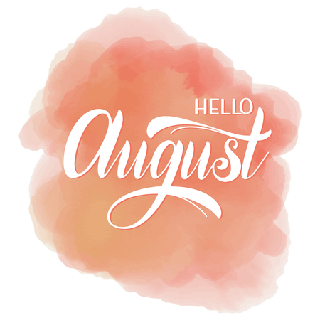 Hello August lettering. Elements for invitations, posters, greeting cards. Seasons Greetings