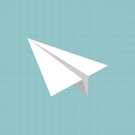 Paper airplane vector icon on copy-book. Back to school concept.