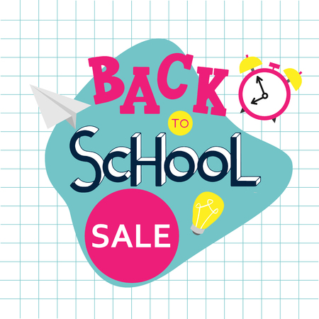 Back to school sale hand drawn lettering. Elements for greeting card, poster, banners. Notebook and sticker design Archivio Fotografico