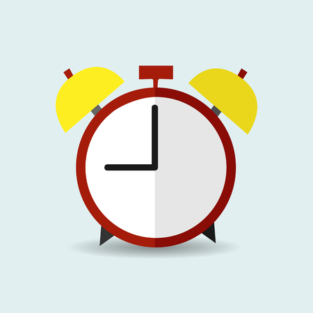 Alarm clock vector icon in flat style. Back to school concept.
