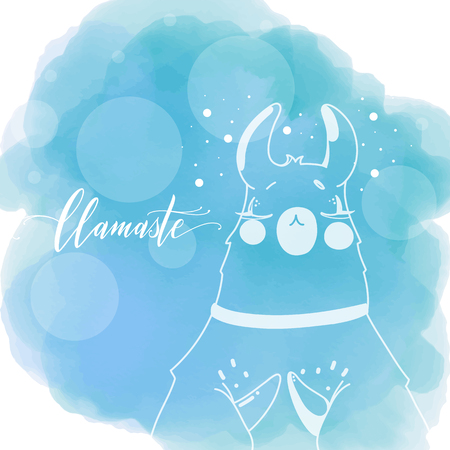 Lama in cartoon style on watercolor background. Namaste quote. Hand drawn vector illustration. Elements for greeting card, poster, banners. T-shirt, notebook and sticker design