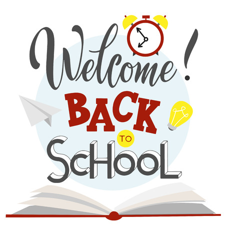 Back to school hand drawn lettering. Elements for greeting card, poster, banners. Notebook and sticker design Illustration