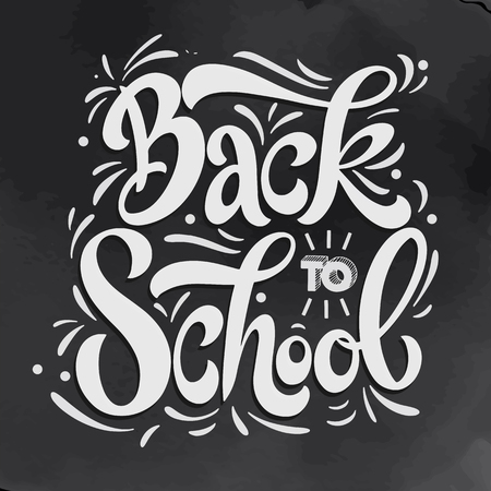 Back to school hand drawn lettering. Elements for greeting card, poster, banners. Notebook and sticker design Ilustração