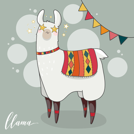 Lama in cartoon style. Star eyes. Hand drawn vector illustration. Elements for greeting card, poster, banners. T-shirt, notebook and sticker design
