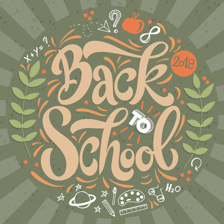 Back to school hand drawn lettering in retro style. Elements for greeting card, poster, banners. Notebook and sticker design