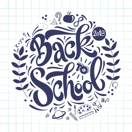 Back to school hand drawn lettering. Elements for greeting card, poster, banners. Notebook and sticker design Stock Illustratie