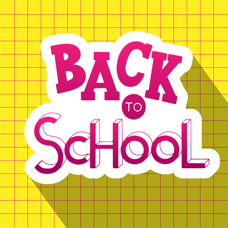 Back to school hand drawn lettering. Elements for greeting card, poster, banners. Notebook and sticker design Vettoriali