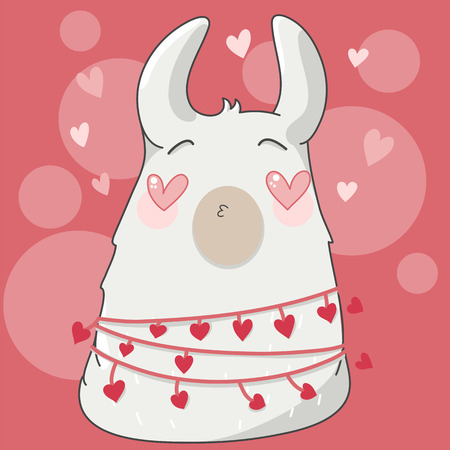 Lama in cartoon style. Lama in love with heart in their eyes. Hand drawn vector illustration. Elements for greeting card, poster, banners. T-shirt, notebook and sticker design  イラスト・ベクター素材