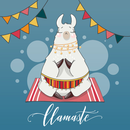 Lama in cartoon style. Namaste quote. Hand drawn vector illustration. Elements for greeting card, poster, banners. T-shirt, notebook and sticker design