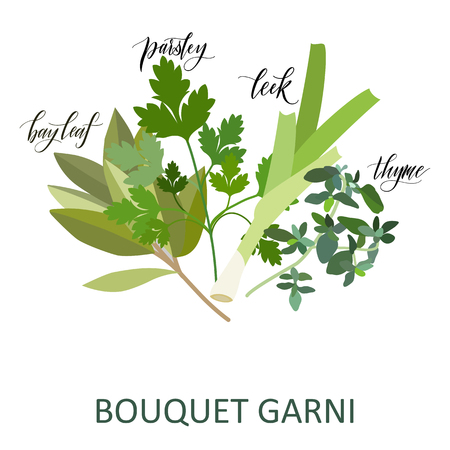 Bouquet Garni herbs set. Hand written names. Aromatic cooking herbs Standard-Bild - 117031565