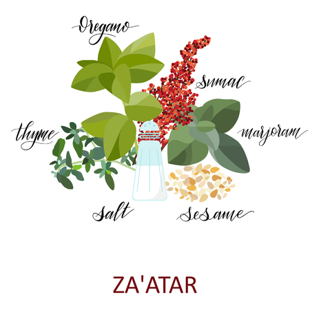 Za atar Herbs set. Hand written names. Aromatic cooking herbs