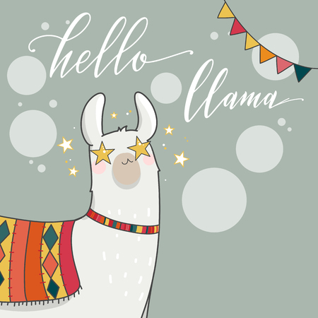 Lama in cartoon style. Hand drawn vector illustration. Elements for greeting card, poster, banners.  T-shirt, notebook and sticker design
