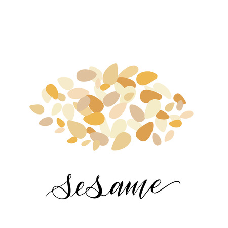 Sesame in flat style. Hand written text. Vector
