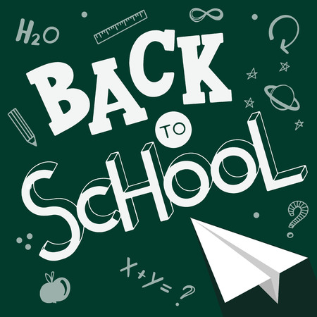 Back to school hand drawn lettering. Elements for greeting card, poster, banners. Notebook and sticker design Stock Photo