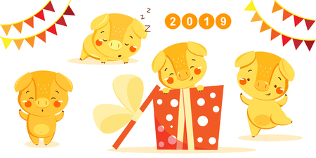 Happy new year set with cute yellow pig. Chinese symbol of the 2019 year. Design for print, poster, invitation, t-shirt and greeting card. Vector illustration. Illustration