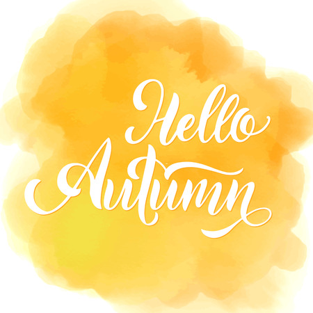 Hello Autumn lettering. Elements for invitations, posters, greeting cards. Seasons Greetings Standard-Bild - 106552434