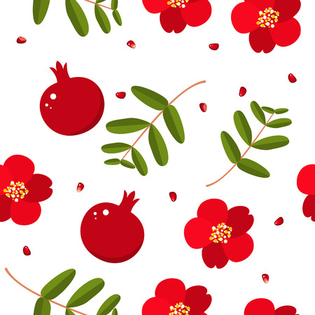 Shana Tova seamless pattern with pomegranate and flowers. Blessing of Happy new year. Elements for invitations, posters, greeting cards. Illustration