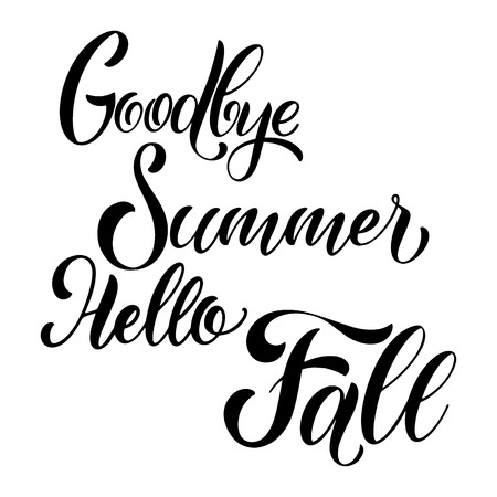 Hello Autumn lettering. Elements for invitations, posters, greeting cards. Seasons Greetings