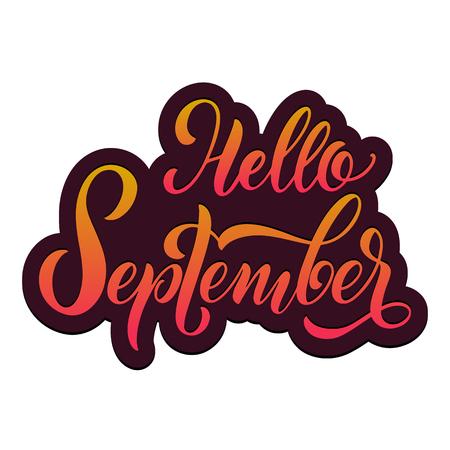 Bonjour lettrage d'automne. Éléments pour invitations, affiches, cartes de voeux. Salutations de saisons Vecteurs