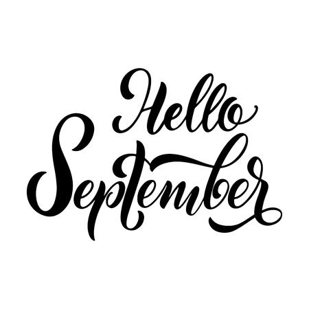 Bonjour septembre lettrage. Éléments pour invitations, affiches, cartes de voeux. Salutations des saisons Vecteurs