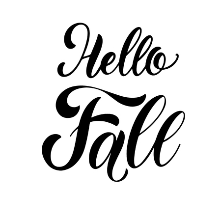 Hello Fall lettering. Elements for invitations, posters, greeting cards. Seasons Greetings Illustration