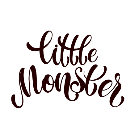 Little monster. Halloween hand written text. Design for print, poster, invitation, t-shirt. Vector illustration