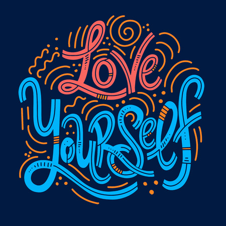 Motivational and Inspirational quotes for Mental Health Day. Love yourself. Design for print, poster, invitation, t-shirt, badges. Vector illustration Ilustração