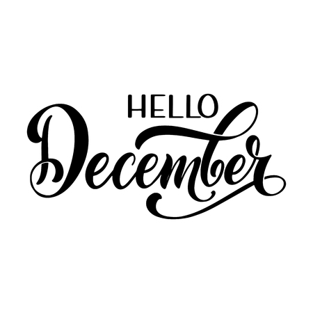 Hello December lettering. Elements for invitations, posters, greeting cards Seasons Greetings Banco de Imagens