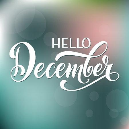 Hello December lettering. Elements for invitations, posters, greeting cards Seasons Greetings 版權商用圖片