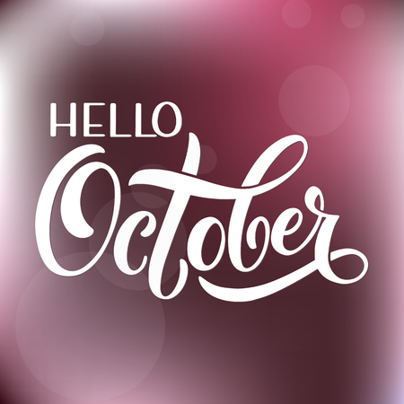 Hello October lettering. Elements for invitations, posters, greeting cards Seasons Greetings 版權商用圖片