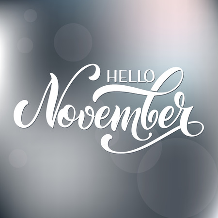 Hello November lettering. Elements for invitations, posters, greeting cards Seasons Greetings Banco de Imagens - 117032025