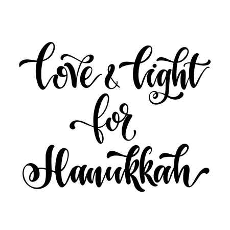 Love and light for Hahukkah. Happy hanukkah hand drawn lettering, dreidels and jewish stars. Elements for invitations, posters, greeting cards. T-shirt design. Seasons Greetings.
