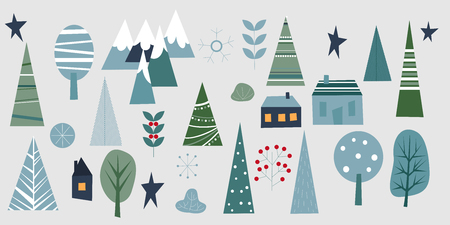 Winter forest set. Elements for greeting card, poster, banners. T-shirt, notebook and sticker design