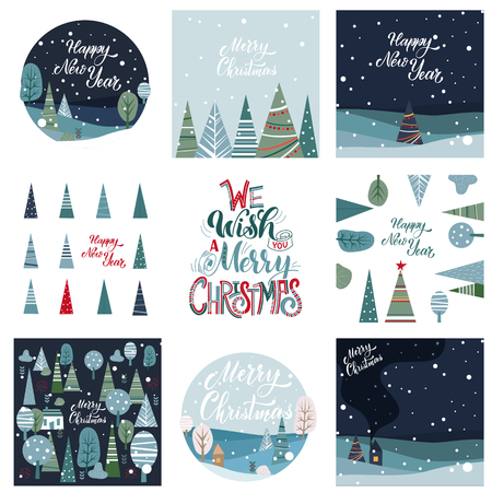 Merry Christmas and Happy New Year Postcards Set. Hand drawn lettering. Winter forest. Elements for greeting card, poster, banners. T-shirt, notebook and sticker design Standard-Bild - 117032159