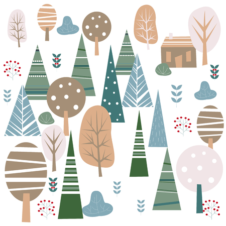 Winter forest. Elements for greeting card, poster, banners. T-shirt, notebook and sticker design Standard-Bild - 117032160