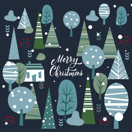 Merry Christmas and Happy New Year Postcard. Hand drawn lettering. Winter forest. Elements for greeting card, poster, banners. T-shirt, notebook and sticker design
