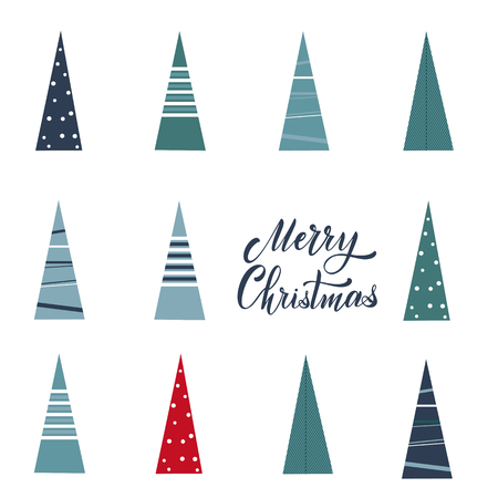 Merry Christmas and Happy New Year Postcard. Hand drawn lettering. Winter forest. Elements for greeting card, poster, banners. T-shirt, notebook and sticker design Standard-Bild - 117032163