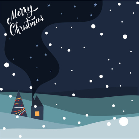 Merry Christmas and Happy New Year Postcard. Hand drawn lettering. Winter forest. Elements for greeting card, poster, banners. T-shirt, notebook and sticker design Standard-Bild - 117032178