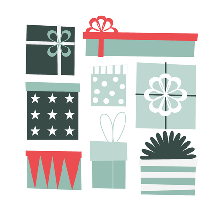 Gift boxes set. Vector elements for your design.