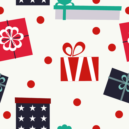Gift boxes set. Seamless pattern. Vector elements for your design. Illustration