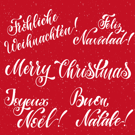 Merry Christmas Lettering on english, french, german, spanish and italian language. Elements for invitations, posters, greeting cards. T-shirt design. Seasons Greetings. Ilustrace