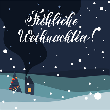 Merry Christmas Lettering on german language. Elements for invitations, posters, greeting cards. T-shirt design. Seasons Greetings.