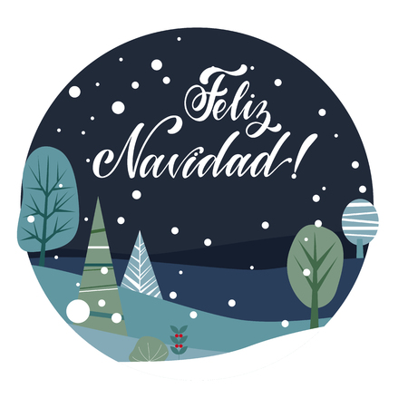 Merry Christmas Lettering on spanish language. Las Vegas. Elements for invitations, posters, greeting cards. T-shirt design. Seasons Greetings. Çizim