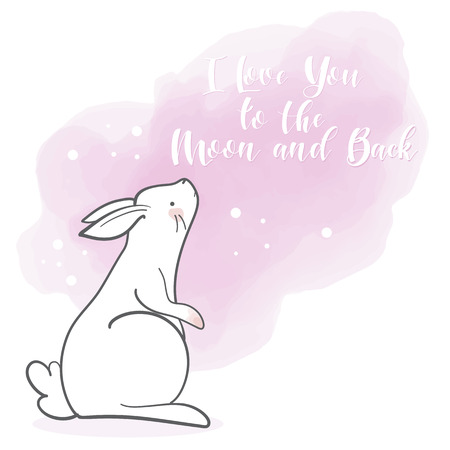Cute rabbit in cartoon style. Valentines day theme. Hand drawn lettering. Vector illustration. Elements for greeting card, poster, banners. T-shirt, notebook and sticker design
