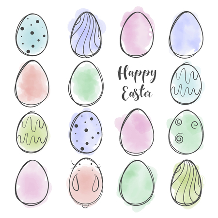 Cute rabbit in cartoon style. Easter theme. Hand drawn lettering. Vector illustration. Elements for greeting card, poster, banners. T-shirt, notebook and sticker design Illustration